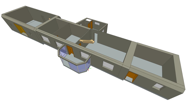 Maquette 3D d'une maison ancienne avant rénovation compléte- Lannion (22) maisonlannionvuerdc